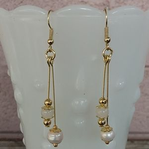 Freshwater Pearl and Milk Glass Bead Earrings
